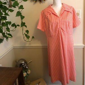 Rare 50s-60s Atomic Plus Sized Printed Dress Sz 16
